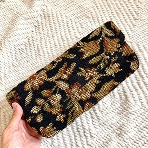 Vintage Black Tan Floral Fabric Clutch Purse
